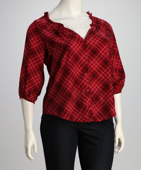 Burgundy Plaid Plus-Size Button-Up Top