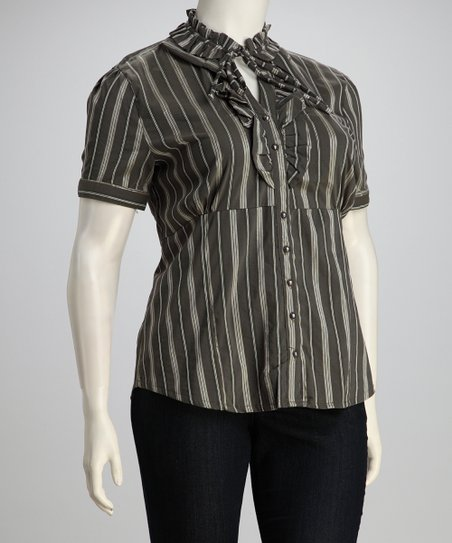 Olive Stripe Ruffle Plus-Size Button-Up Top