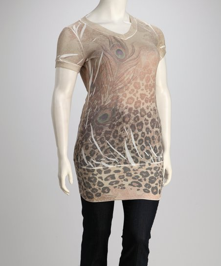 Taupe Leopard Sublimation Plus-Size Top