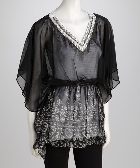 Black Angel-Sleeve Top
