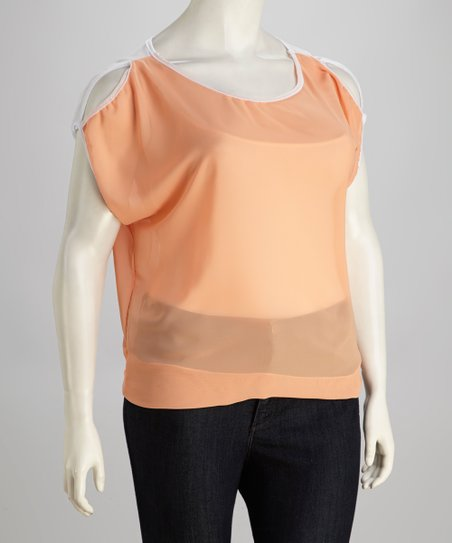 Peach Cutout Plus-Size Top