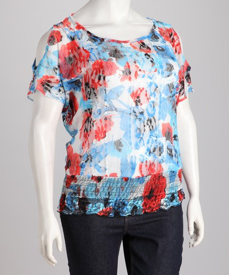Blue Floral Plus-Size Cutout Top