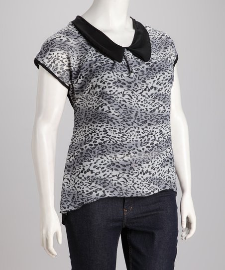 Black Safari Plus-Size Top