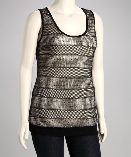Black Mesh Stripe Plus-Size Tank