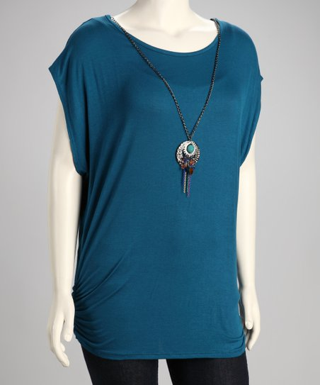 Teal Ruched Plus-Size Tunic & Necklace