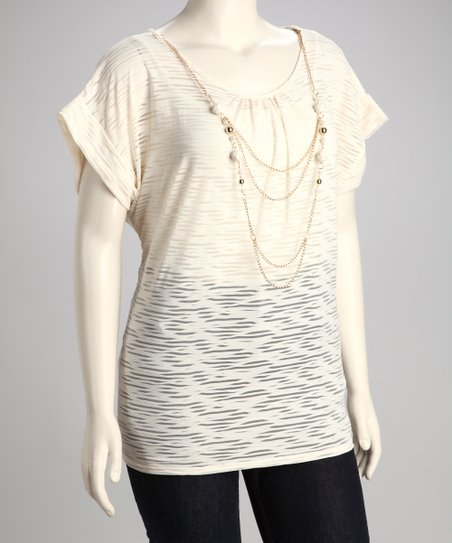 Ivory Plus-Size Burnout Top &amp; Necklace
