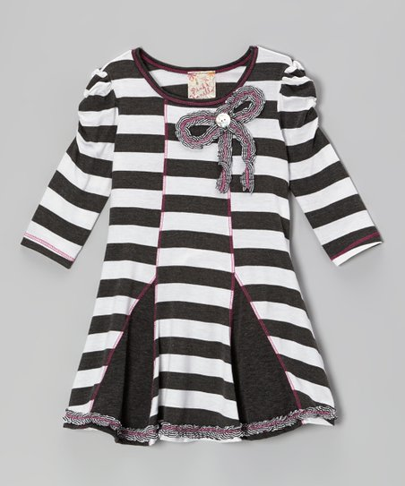 Charcoal & White Stripe Bow Dress - Girls