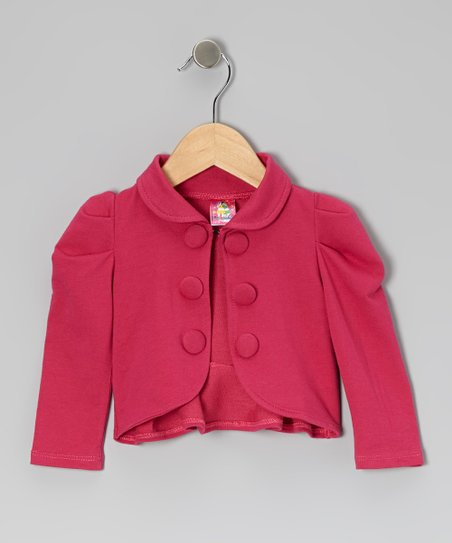 Pink Gathered Shoulder Ruffle Jacket - Toddler & Girls