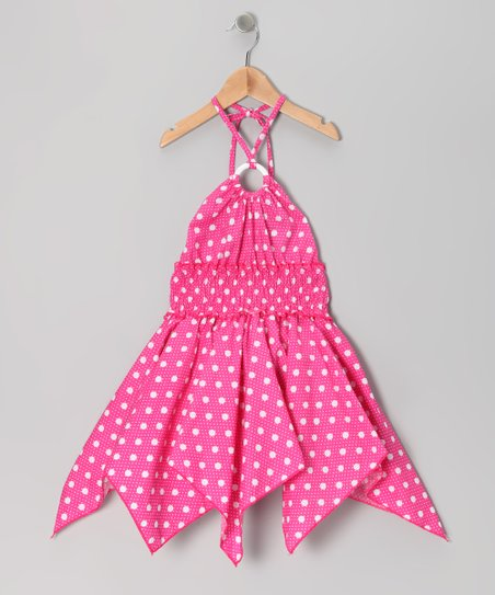 Pink Polka Dot Handkerchief Dress - Toddler & Girls