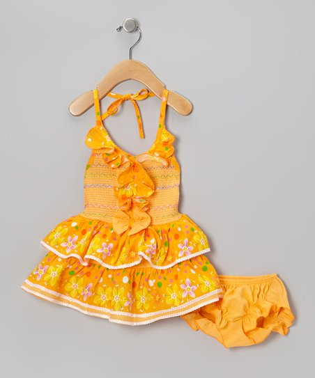 Orange Flower Ruffle Halter Dress & Diaper Cover - Infant