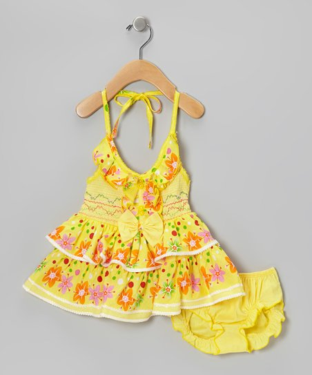 Yellow Flower Ruffle Halter Dress & Diaper Cover - Infant