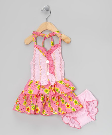 Pink Floral Halter Dress & Diaper Cover - Infant