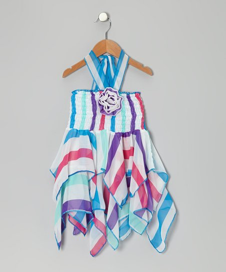 Blue Flower Chiffon Handkerchief Dress - Toddler & Girls