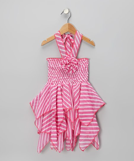 Pink Stripe Chiffon Handkerchief Halter Dress - Toddler & Girls