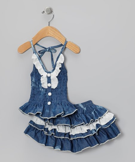 Medium Wash Denim Lace Halter Top & Skirt - Infant