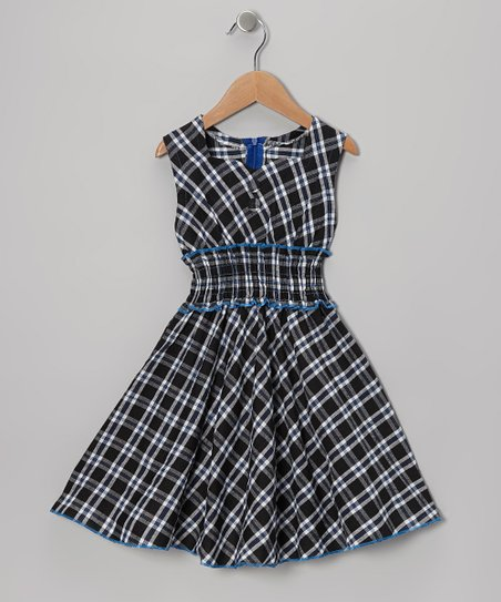 Green & Blue Plaid Square Neck Dress - Toddler & Girls