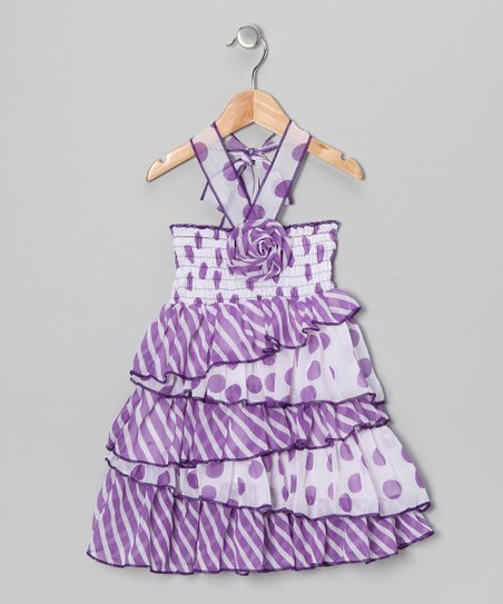 Purple Polka Dot Halter Dress - Toddler & Girls