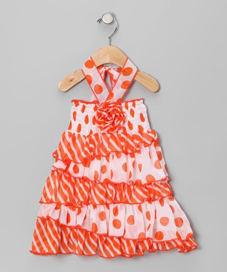 Orange Polka Dot Rosette Halter Dress - Toddler & Girls