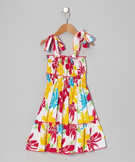 Pink & Yellow Floral Ruffle Tier Dress - Toddler & Girls