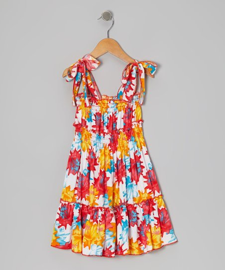 Red & Orange Floral Convertible Dress - Toddler & Girls