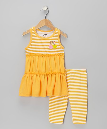 Light Orange Stripe Cherry Bow Tunic & Leggings - Toddler & Girls