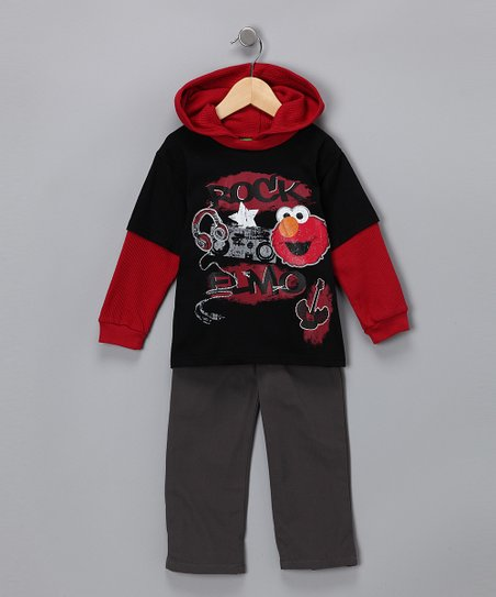 Red 'Rock Elmo' Layered Tee & Pants