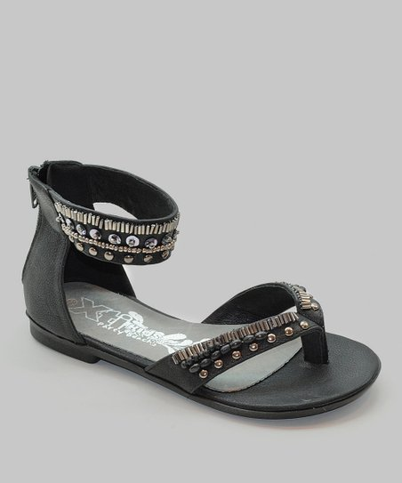 Black Embellished Gladiator Sandal