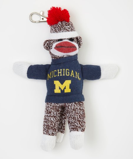 Michigan Wolverines Sock Monkey Key Chain