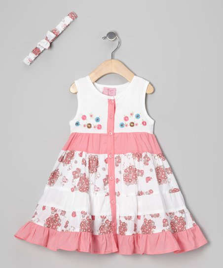 White & Pink Pomegranate Dress & Headband - Toddler & Girls