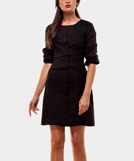 Black Camelia Three-Quarter Sleeve Dress