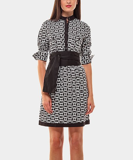 Black & White Belted Lavinia Three-Quarter Sleeve Dress