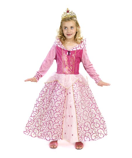 Pink Glitter Swirl Princess Dress - Girls