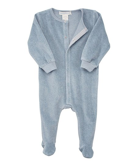 Dusty Blue Organic Velour Snap Footie - Infant
