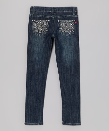 Medium Wash Rhinestone Lotus Jeans - Girls