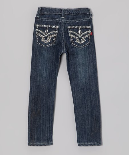 Medium Wash Rhinestone Jeans - Girls