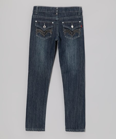 Medium Wash Stud Jeans - Toddler & Girls