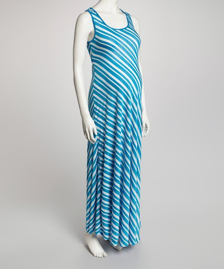 QT Blue & White Stripe Maternity Maxi Dress - Women