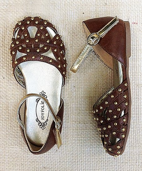 Brown & Gold Stud Brooklyn Mary Jane - Girls