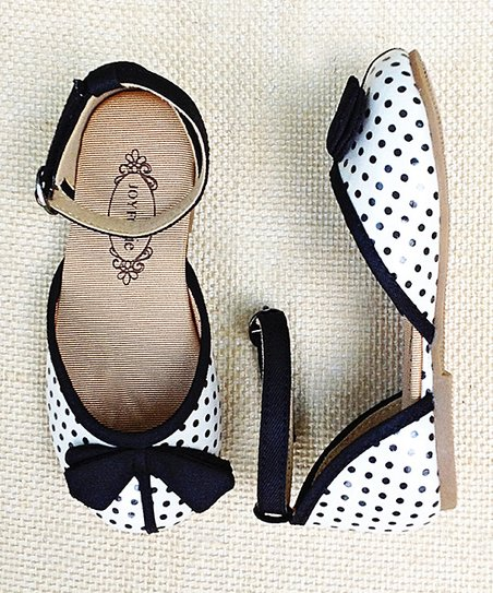 Black & Cream Polka Dot Adele Ankle-Strap Flat - Kids