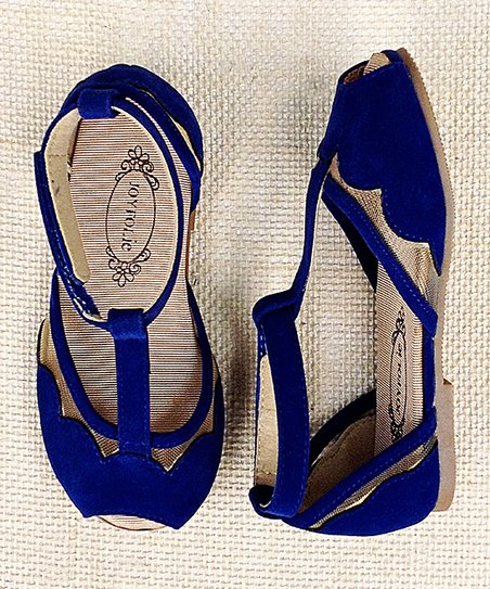 Ultramarine Blue Stella T-Strap Sandal - Kids