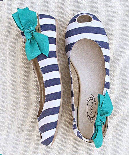 Navy & White Stripe Cutout Mia Flat - Women