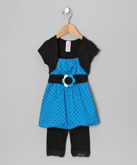 Turquoise Polka Dot Bubble Tunic Set - Toddler & Girls