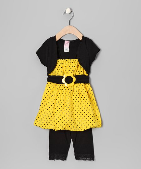 Yellow Polka Dot Bubble Tunic Set - Toddler & Girls