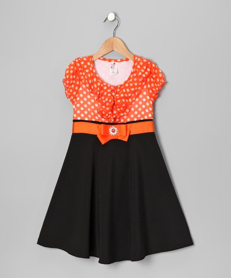 Orange Polka Dot Dress - Toddler & Girls