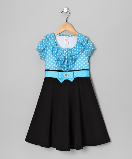 Turquoise Polka Dot Dress - Toddler & Girls