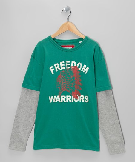 Green 'Freedom' Long-Sleeve Layered Tee - Boys