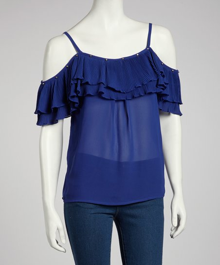 Royal Blue Double Ruffle Tank