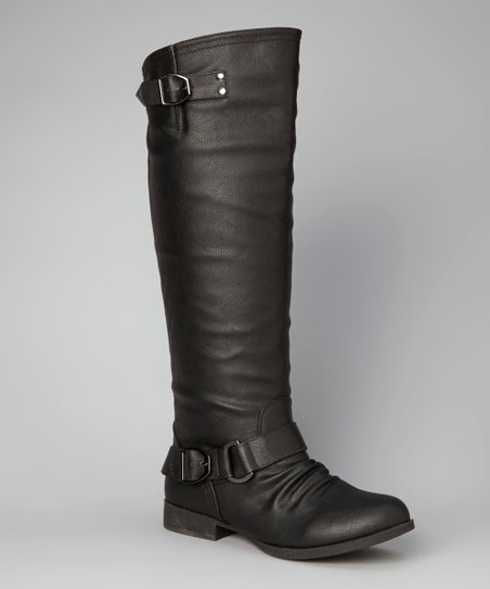 Black Buckle Straight Boot