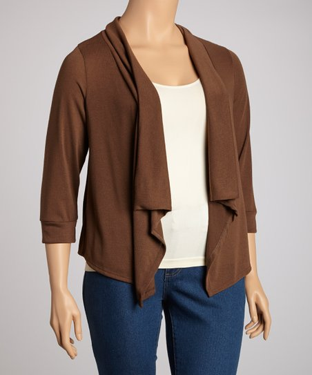 Brown Three-Quarter Sleeve Sidetail Open Cardigan - Plus