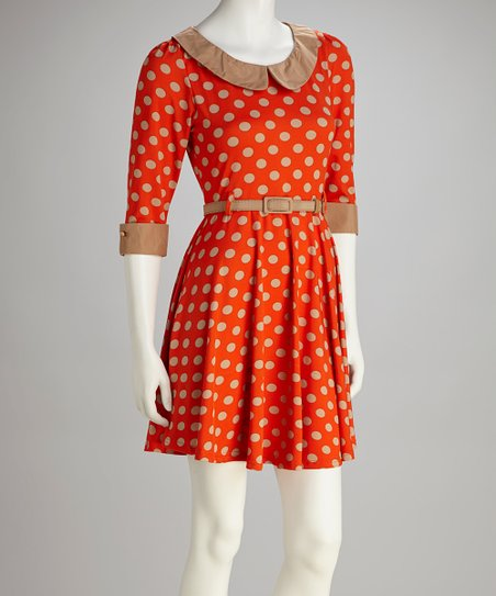 Orange Polka Dot Peter Pan Collar Dress